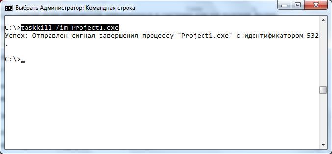 Завершить процесс, cmd.exe, командная строка, Windows